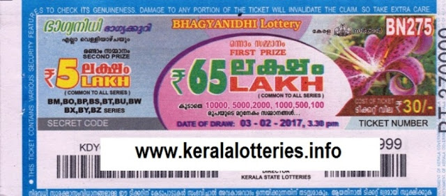 Kerala lottery result official copy of Bhagyanidhi (BN-258) on 07.10.2016
