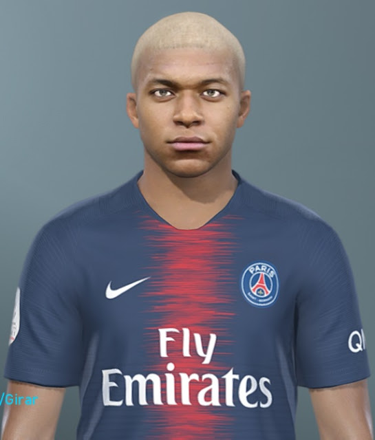 Kyllian Mbappé Face - PES 2019 - White Hair Color - Minosta4u - PES