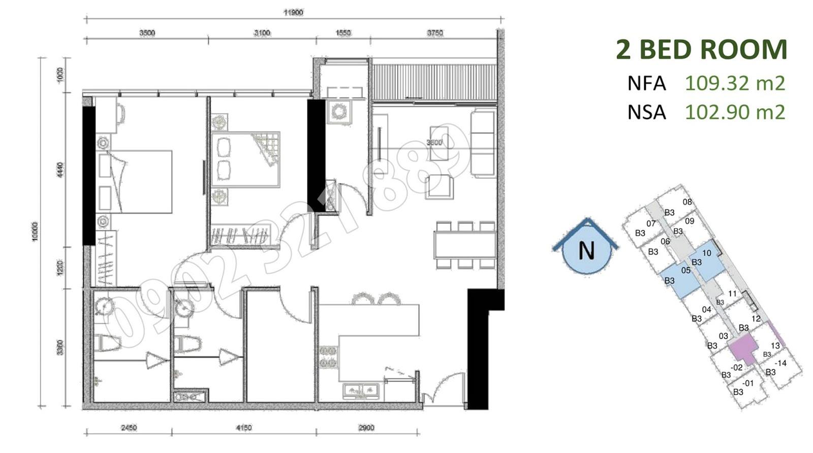 mặt bằng căn hộ sunwah pearl 2 phòng ngủ B3-05 và B3-10