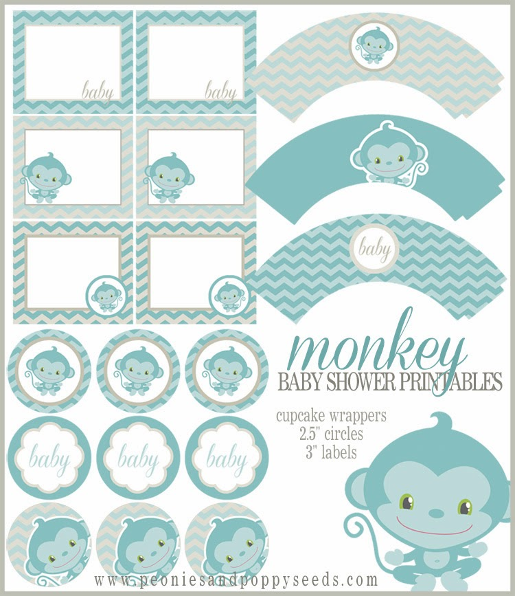 Free Printable Monkey Boy Kit for Baby Showers.