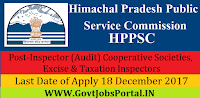 Himachal Pradesh Subordinate Allied Services Examination Recruitment-2017 86 Inspector (Audit) Cooperative Societies, Excise & Taxation Inspectors