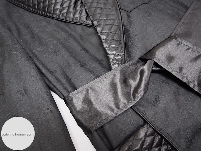 mens luxury dressing gown black cotton silk long robe quilted english style classic luxurious
