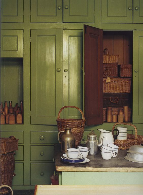Rustic Country Green Kitchen