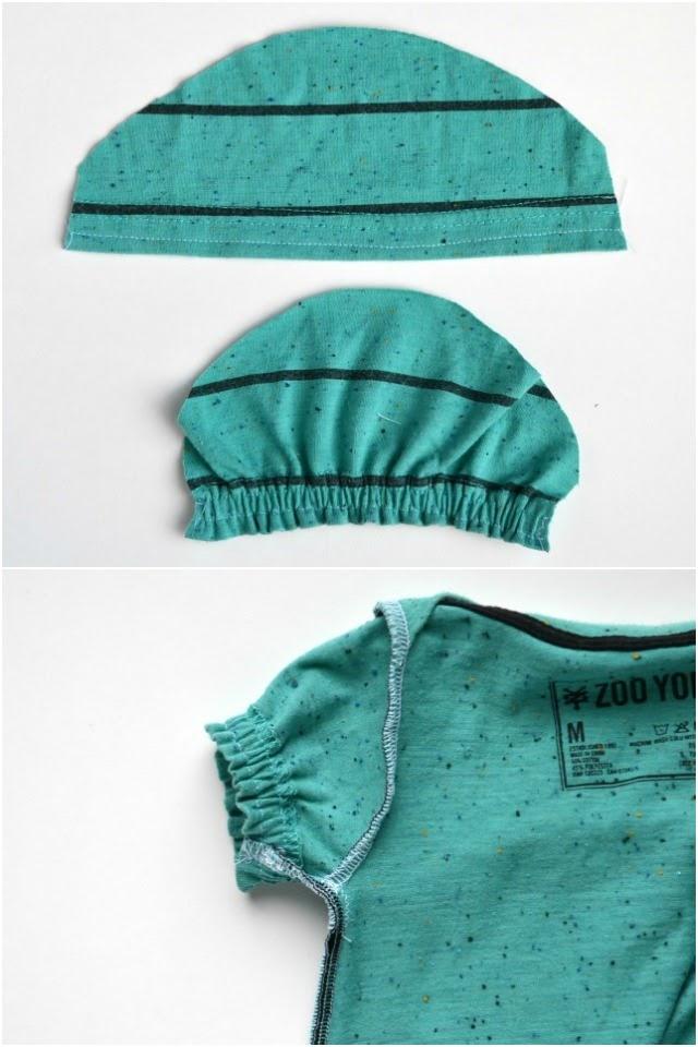 DIY Gathered Sleeves and Hem Tshirt Romper Tutorial