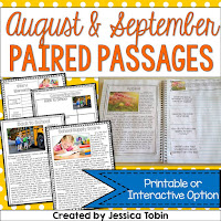 https://www.teacherspayteachers.com/Product/Paired-Passages-August-and-September-1970462