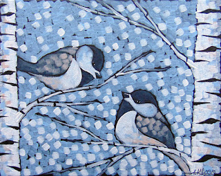 Winter Frost Chickadees painting by duluth artist aaron kloss, painting of chickadees in winter, siiviis gallery, sivertson gallery, duluth mn, birds birch