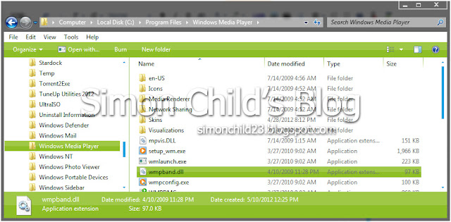 pasang wmpband.dll windows 7, registrasi file wmpband.dll, add file wmpband.dll ke windows 7
