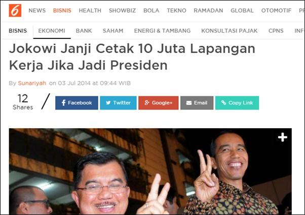 DPR Tagih Janji Jokowi Buka 10 Juta Lapangan Kerja