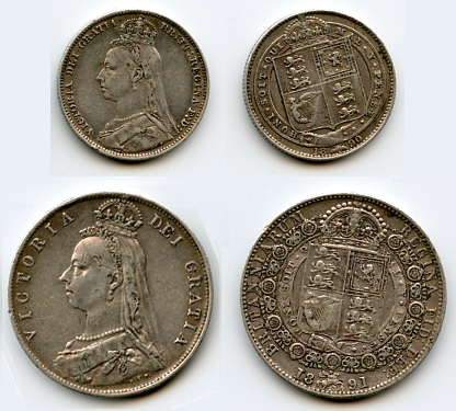 Shilling 1890, Half Crown 1891