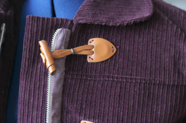 Grainline Cascade Duffle Coat made from Sewing Studio Wine Corduroy -toggles and collar