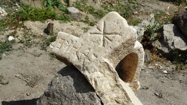 Byzantine stone baptismal vessel found at Plovdiv's Episcopal Basilica site
