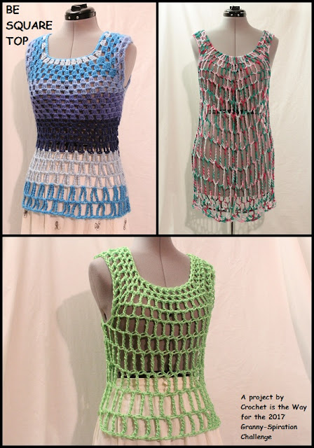Granny-Spiration Challenge 2017, granny square, top, tank top, blouse, shirt, easy, crochet, free pattern, tutorial, linkup, giveaway, yarn, Caron Cakes, blue, Blueberry Cheesecake, Deborah Norville Hipster, Caron Simply Soft