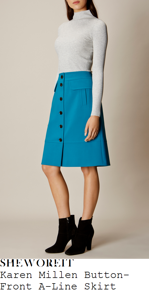 holly-willoughby-karen-millen-bright-teal-blue-and-black-contrast-button-detail-high-waisted-knee-length-a-line-skirt