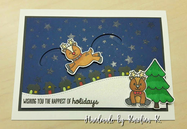 Sunny Studio Stamps: Sunny Saturday Gleeful Reindeer Card Share by Karolina Kucharski