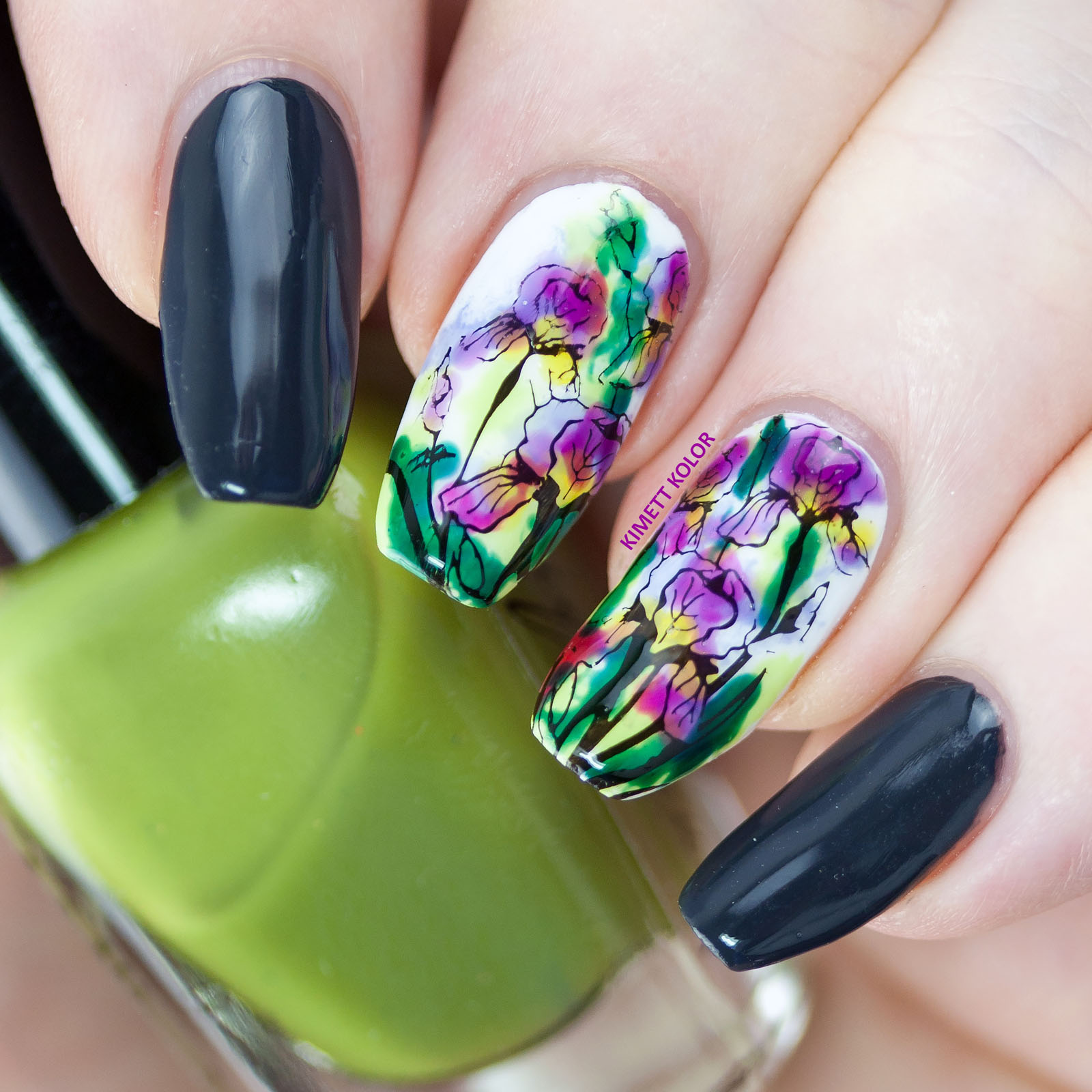 Kimett Kolor Lead Lighting nail art with iris flowers