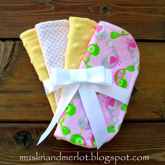 Baby washcloths by Muslin & Merlot. Free printable template!