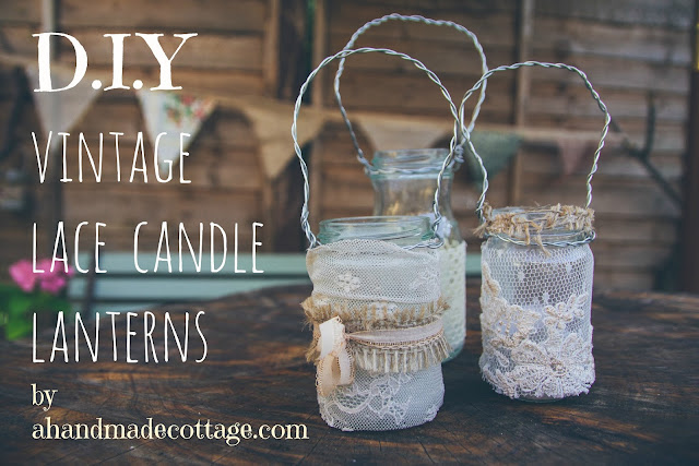 How to make vintage lace candle lanterns for weddings, home and garden