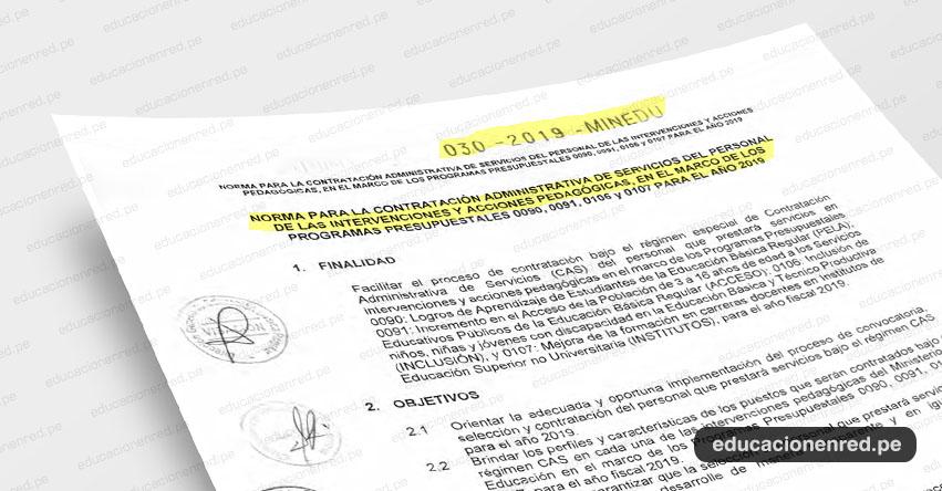 MINEDU publicó Anexos de la Norma Técnica para la contratación administrativa de servicios del personal de las intervenciones y acciones pedagógicas para el año 2019» (R. VM. Nº 030-2019-MINEDU) DESCARGAR .PDF