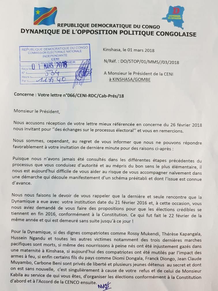 La Dynamique De L Opposition Fayulu Zappe L Invitation De La Ceni