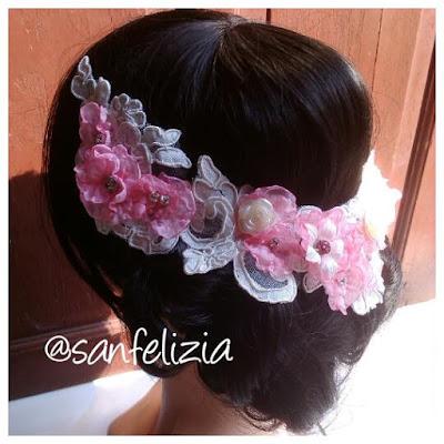 Bridal headpiece brokat untuk low bun