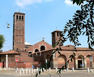 The Basilica di Sant'Ambrogio in Milan, where 12,000 Inter fans turned out for Facchetti's funeral
