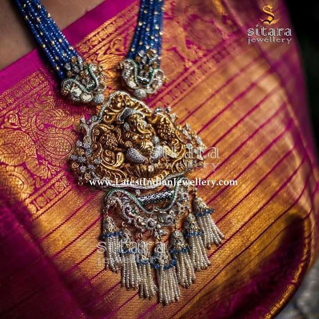 Sapphire Beads Diamond Ganesh Pendant