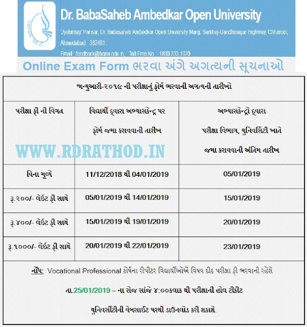 BAOU Exam Form January/February - 2019 : baou.edu.in
