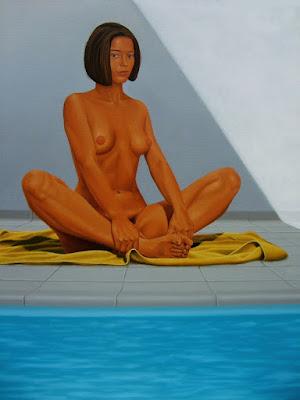piscine, eau, ombre, lumière, fille nue, couleur, géométrie, composition, série, abstrait, figuratif, peinture, huile