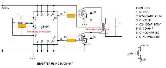 simple IC 4047 inverter circuit