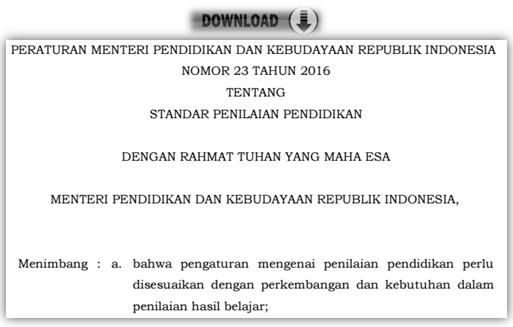 gambar permendikbud nomor 23 tahun 2016