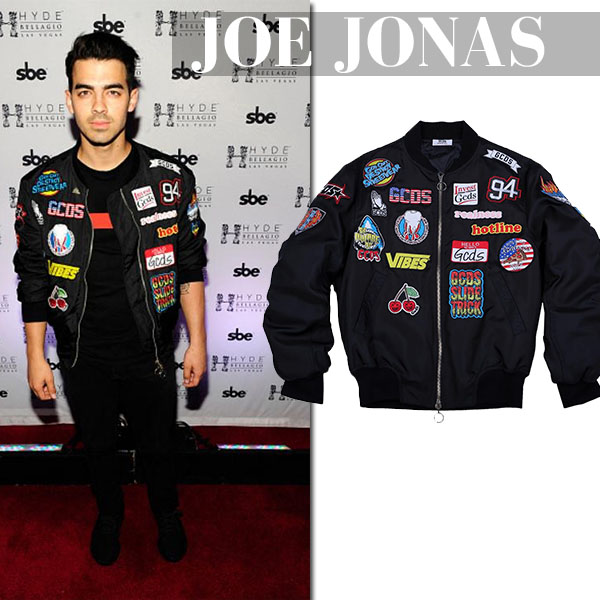 Joe Jonas in black embroidered bomber jacket gcds mens fashion