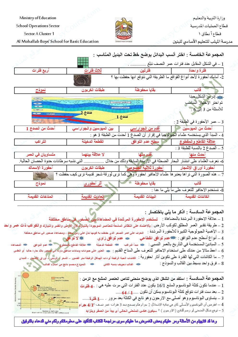 علوم الصف السادس الفصل الاول كتاب الطالب