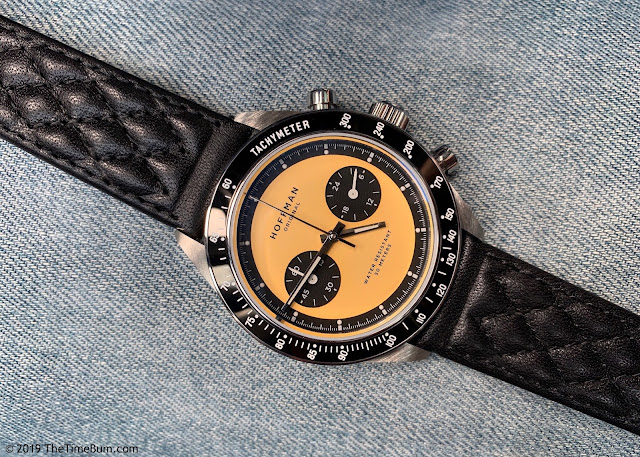 Hoffman Driver 40 MechaQuartz yellow, Manchester Watch Works strap