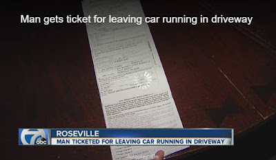 Roseville man gets $128 ticket for heating up car in own driveway