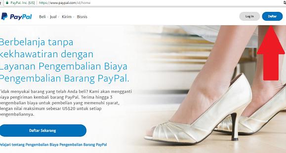 Halaman awal paypal.com
