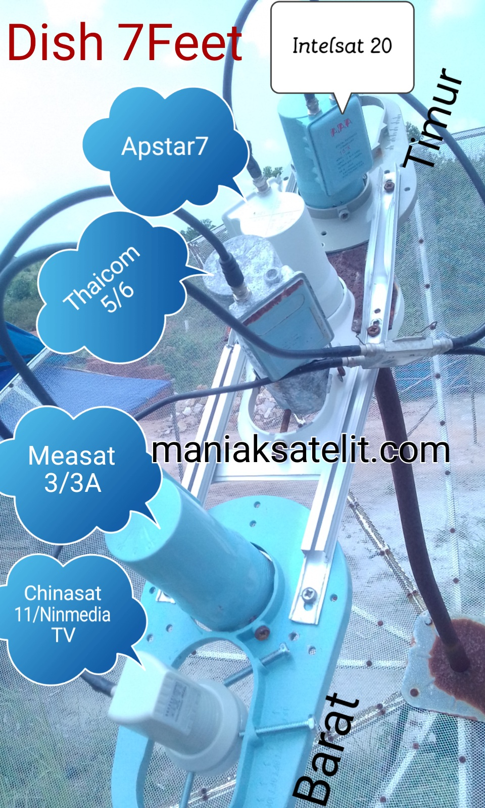 Eksperimen Menggabungkan Satelit/LNB Intelsat20-Apstar7-Thaicom5/6-Measat 3A- dan Chinasat 11 (Ninmedia TV).