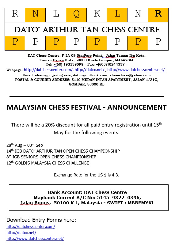 20 Percent Discount For Malaysia Chess Festival 2017