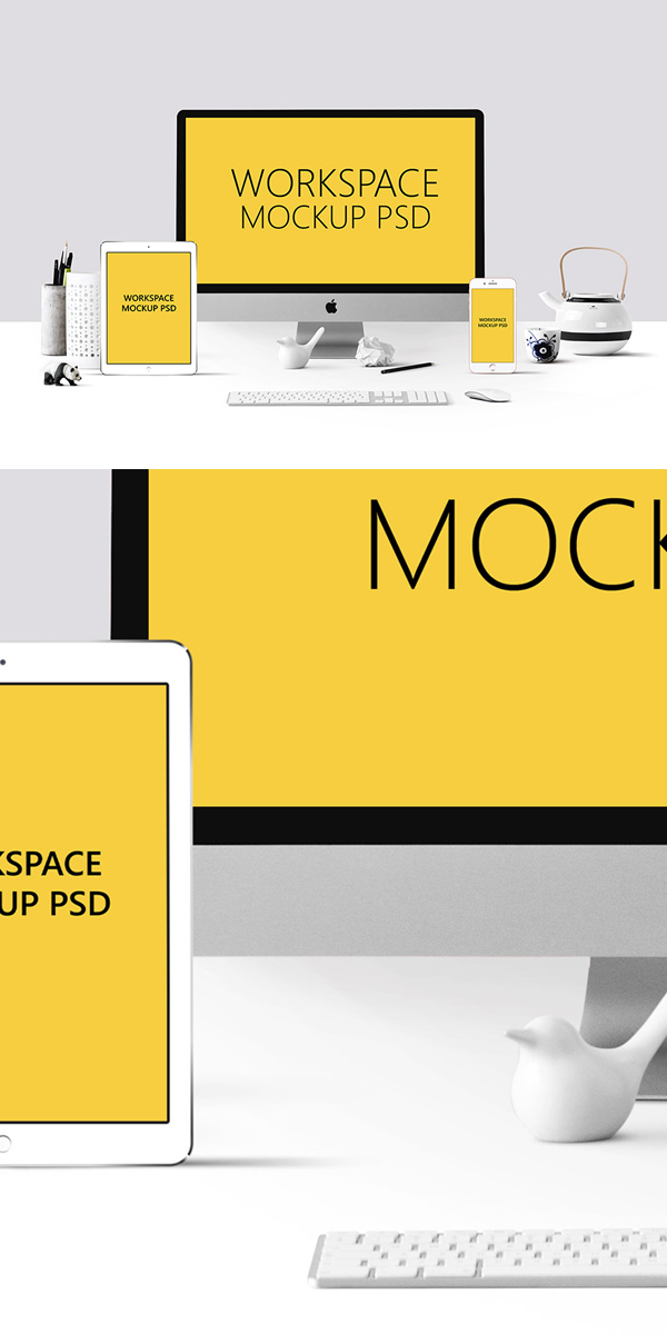Mockup terbaru 2017 gratis - Free Workspace Mockup PSD