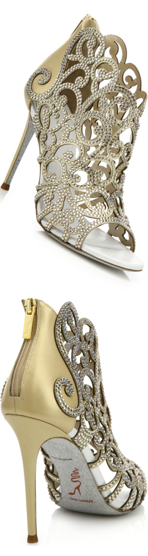 Rene Caovilla Swirl Strass Leather Peep-Toe Sandals