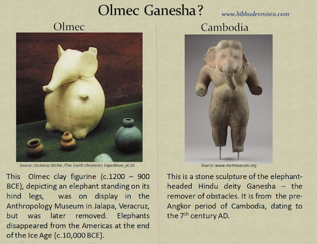 Olmec clay figurine depicting an elephant standing on its hind legs resembling the Hindu deity Ganesha