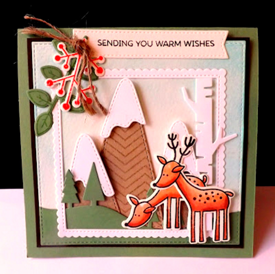 Deer Friends stamp set and Die-namics, Birch Trees, Snow-Capped Mountains, Stitched Square Scallop Edge Frames, Blueprints 8, and Blueprints 20 Die-namics - DJ Rants #mftstamps