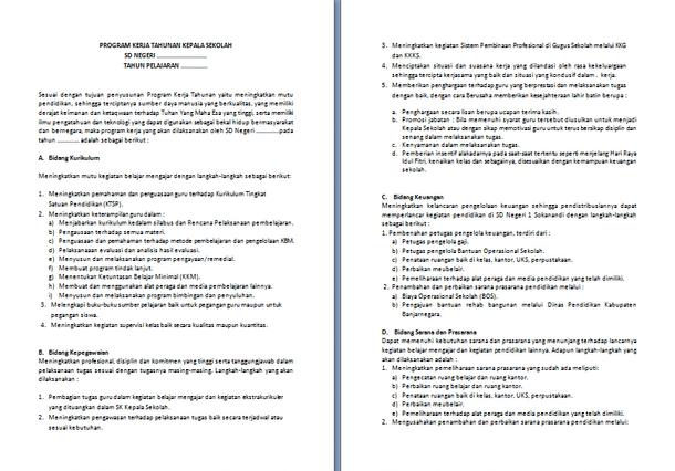 Contoh Program Kerja Tahunan Kepala Sekolah SD Format Microsoft Word