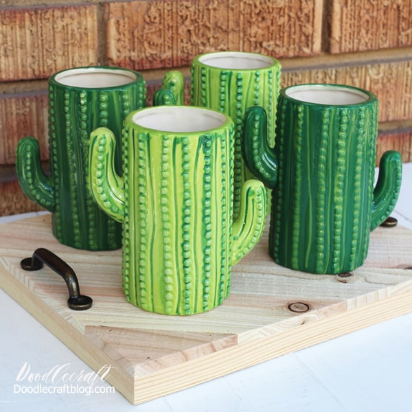 Cactus ceramic mugs tumblers perfect for a fiesta party.