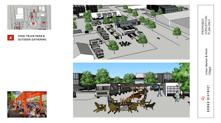 The grocery store and other elements of the Cargo District will be added at different times throughout the three-year project developers have planned, with Live/Work Units and the Food Truck Park coming in the first year