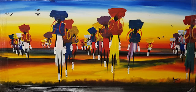Paintings Canvas African Curio People Land