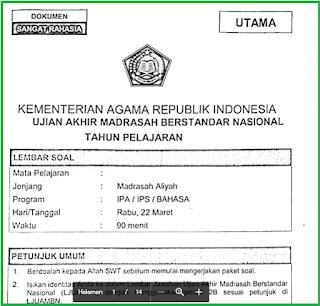 Soal Latihan UAMBN MA Tahun 2018/2019 dan Pembahasannya