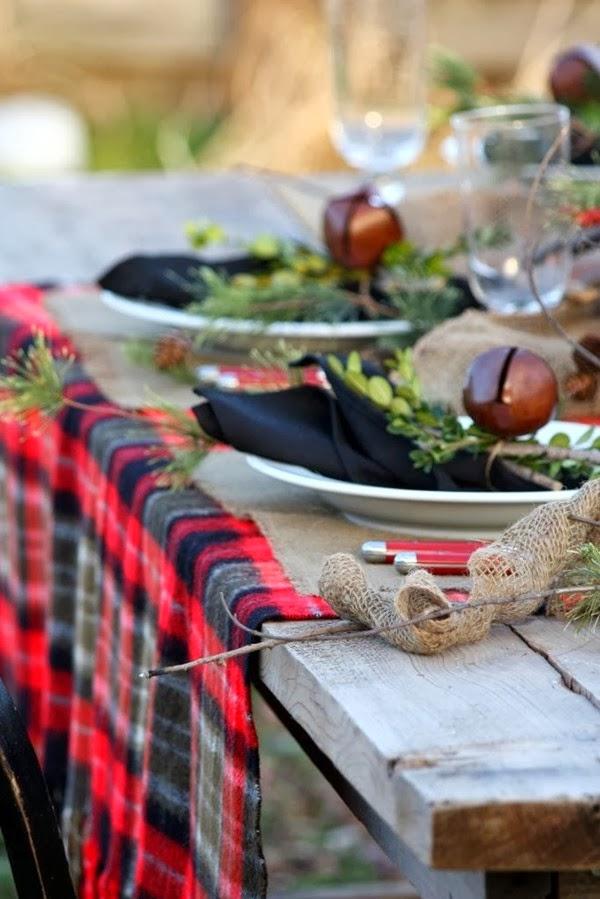 manta de cuadros para picnic campestre en invierno