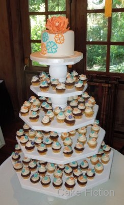 mini cupcakes wedding cake cake fiction peony wedding cake with mini cupcake display 17395