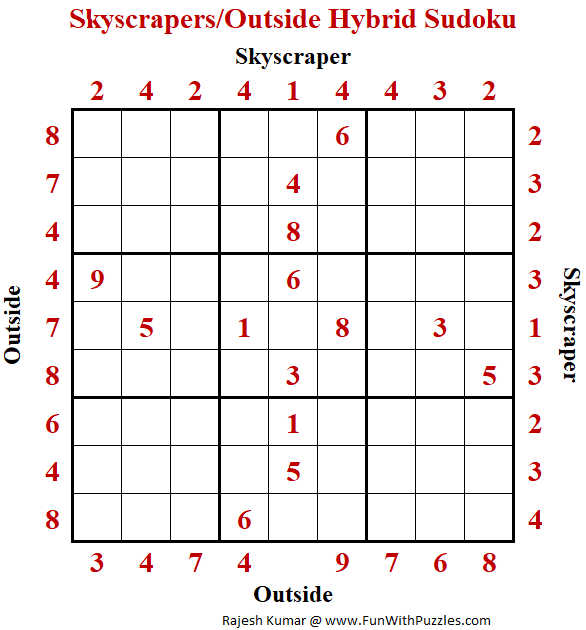 Skyscrapers/Outside Hybrid Sudoku Puzzle (Daily Sudoku League #229)