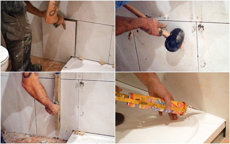 hacemos los recortes a los azulejos y preparamos la masa que es de cemento cola y agua hasta que quede una pasta homognea